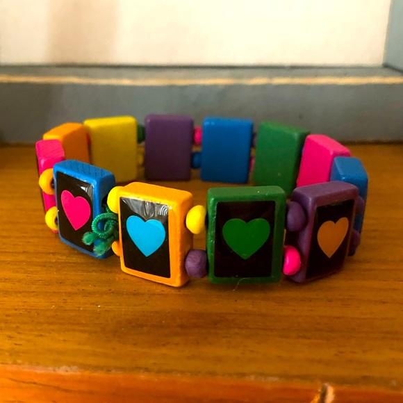 Fun Chunky Vibrant Wooden Bead Heart 90s Bracelet